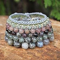 Labradorite and pink aventurine wristband bracelet,