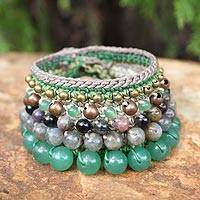 Labradorite and tourmaline wristband bracelet, 'Bangkok Lotus' - Thai Labradorite Beaded Bracelet