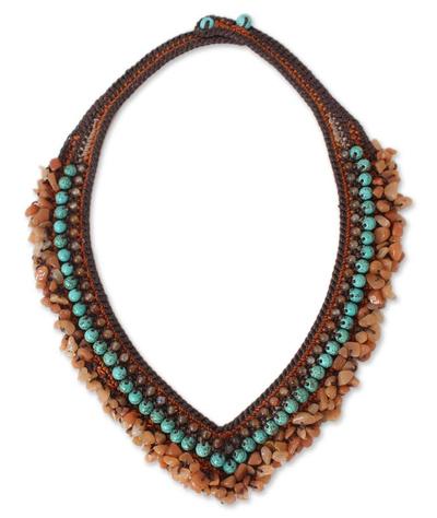 Carnelian and Quartz Crochet Necklace