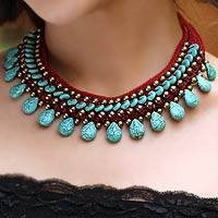 Brass beaded choker, 'Alive' - Beaded Turquoise Colored Necklace