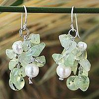 Pearl and prehnite cluster earrings, 'Thai Whisper' - Prehnite and Pearl Dangle Earrings