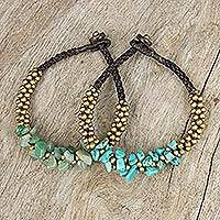 Beaded wristband bracelets, 'Blue Green Orchids' (pair) - Quartz and Beaded Wristband Bracelets (Pair)