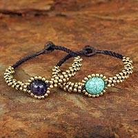 Beaded wristband bracelets, 'Planet Autumn' (pair) - Brass Beaded Bracelets (Pair)