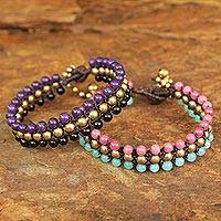 Beaded wristband bracelets, 'Spring Sukhothai' (pair) - Handmade Beaded Quartz and Agate Bracelets (Pair)