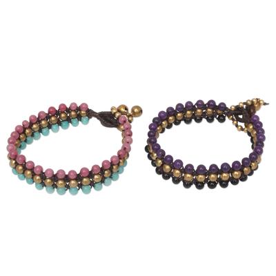 Handmade Beaded Quartz and Agate Bracelets (Pair)