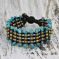 Beaded wristband bracelet, 'Lanna Dazzle' - Artisan Crafted Beaded Turquoise Colored Bracelet