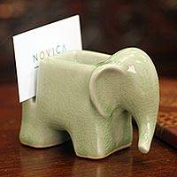 Celadon ceramic card and clip holder, 'Green Elephant' - Celadon Ceramic Card Holder