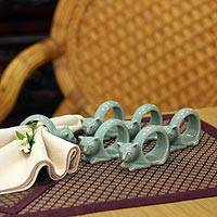Celadon ceramic napkin rings, 'Siamese Cat' (set of 6)