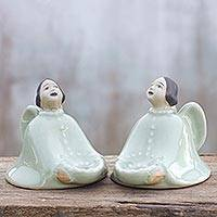 Celadon ceramic candleholders Thai Angel pair Thailand