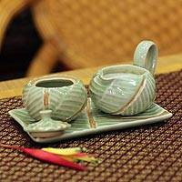 Celadon ceramic sugar bowl and creamer, 'Banana Leaf' (4 pieces) - Celadon Ceramic Sugar Bowl and Creamer (4 pieces)