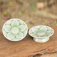 Celadon ceramic canape plates, 'Jade Lotus' (pair) - Celadon Ceramic Lotus Plates (Pair)