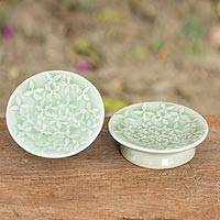 Celadon ceramic canape plates, 'Jade Frangipani' (pair) - Set of Two Floral Green Ceramic Plates