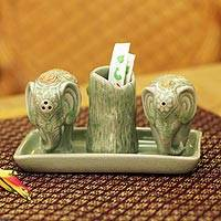 Celadon ceramic condiment set, 'Elephant Soulmates'  - Celadon Ceramic Salt and Pepper Set