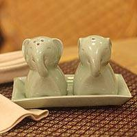 Celadon ceramic condiment set, 'Smiling Elephant'  - Celadon ceramic condiment set