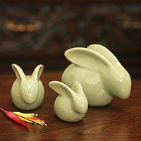 Celadon ceramic figurines, 'Chiang Mai Rabbits' (set of 3) - Hand Crafted Celadon Ceramic Sculptures (Set of 3)