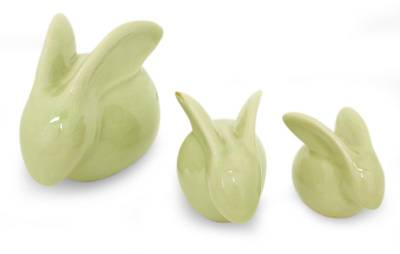 Hand Crafted Celadon Ceramic Sculptures (Set of 3)