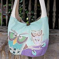 Cotton sling bag, 'Owl Sisters' -  Cotton Sling Handbag from Thailand