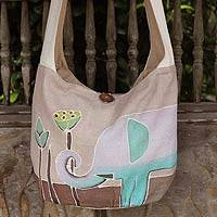 Cotton sling bag, 'Lotus Elephant' - Batik Cotton Shoulder Bag