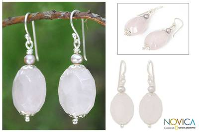 Rose quartz and cultured pearl dangle earrings, 'Floral Illusions' - Rose quartz and cultured pearl dangle earrings