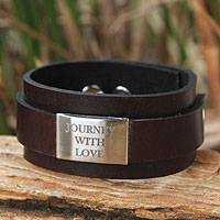 Leather and nickel wristband bracelet, 'Journey with Love' - Wide Leather and Brushed Nickel Bracelet