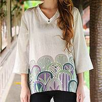 Cotton tunic, 'Forest Magic' - Painted Cotton Tunic