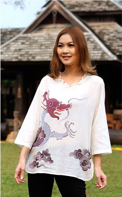 Cotton batik tunic, 'Majestic Naga' - Thai Batik Cotton Tunic