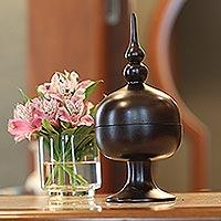 Mango wood jar, 'Thai Temple'