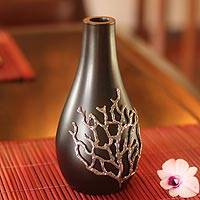 Mango wood and pewter vase, 'Black Coral' - Artisan Crafted Mango Wood Vase