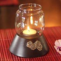 Mango wood candleholder, 'Rose Glow' - Mango wood candleholder