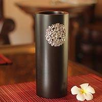 Mango wood and pewter vase, 'Floral Bouquet' - Mango wood and pewter vase