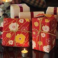 Saa wrapping paper, 'Blossoming Garden' (set of 4) - Saa wrapping paper (Set of 4)