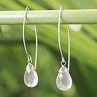 Rose quartz dangle earrings, 'Sublime'