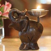 Wood candleholder, 'Elephant of Old Siam' - Fair Trade Mango Wood Candle Holder