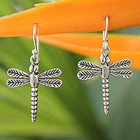 Sterling silver dangle earrings, 'Mekong Dragonflies' - Handmade Sterling Silver Dangle Earrings