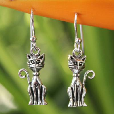 Sterling silver dangle earrings, 'Feline Fantasy' - Sterling Silver Cat Earrings