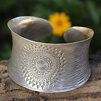 Sterling silver cuff bracelet, 'Sukhothai Sun' - Handcrafted Sterling Silver Cuff Bracelet