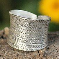 Sterling silver band ring, 'Autumn Breath' - Handcrafted Hill Tribe Sterling Silver Band Ring