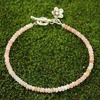 Pink opal flower bracelet, 'Blossoming Hope' - Handcrafted Beaded Opal Bracelet