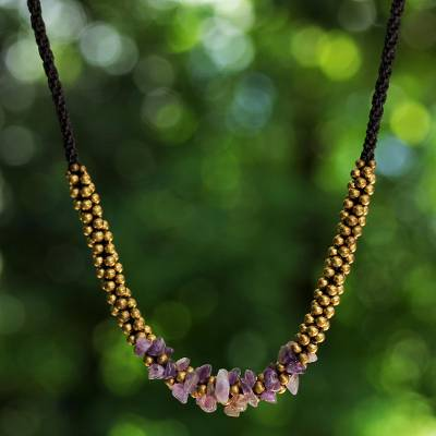 Amethyst beaded necklace, 'Lilac Orchids' - Artisan Crafted Brass Beaded Amethyst Necklace