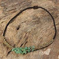 Beaded necklace, 'Green Orchids' - Brass Beaded Quartz Necklace