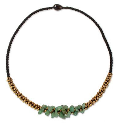 Brass Beaded Quartz Necklace