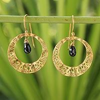 Gold plated onyx dangle earrings,
