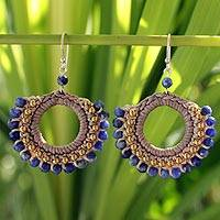Sodalite dangle earrings, 'Thai Suns' - Sodalite and Brass Beaded Earrings