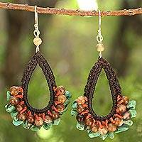 Agate dangle earrings, 'Deva Destiny' - Handmade Agate Beaded Earrings