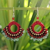 Beaded dangle earrings, 'Tribal Glamour' - Brass Beaded Quartz Earrings from Thailand