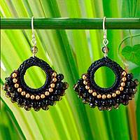 Black agate dangle earrings, 'Nocturnal Lanna' - Handmade Agate Crochet Earrings
