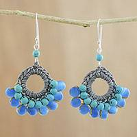 Beaded dangle earrings, 'Mekong Blue' - Hand Crocheted Calcite Earrings