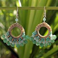 Beaded dangle earrings, 'Verdant Lanna' - Fair Trade Brass and Quartz Crochet Earrings
