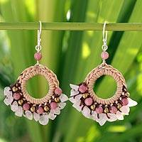 Rose quartz and chalcedony dangle earrings, 'Pink Lanna' - Rose Quartz and Chalcedony Beaded Earrings
