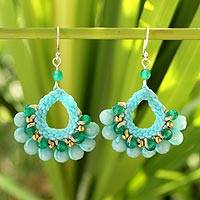 Amazonite dangle earrings, 'Azure Lanna' - Fair Trade Brass Beaded Amazonite Earrings